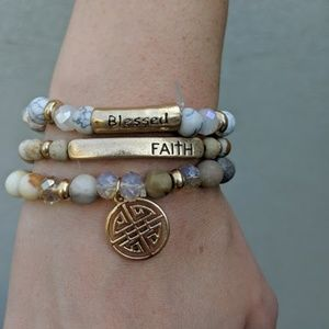 Jewelry - Three natural stone and crystal bracelets